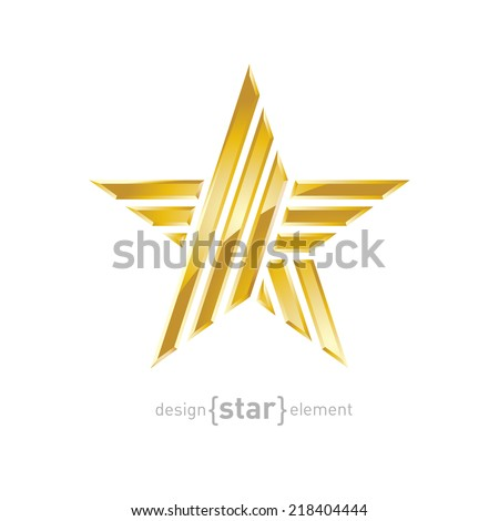 The luxury Gold star, vector design element on white background. Corporate logotype template - stock vector
