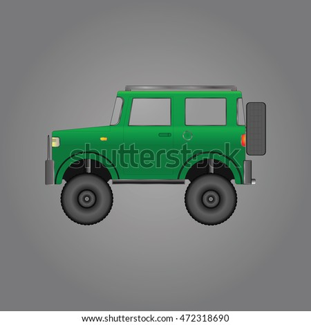 The machine is specially equipped for off-road. 4x4. Vector illustration.