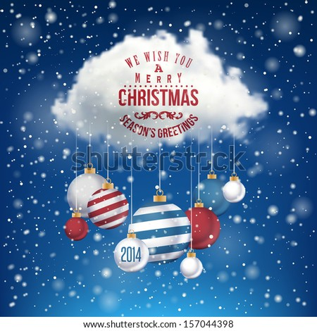 The Magic Christmas Cloud. Christmas background  - stock vector