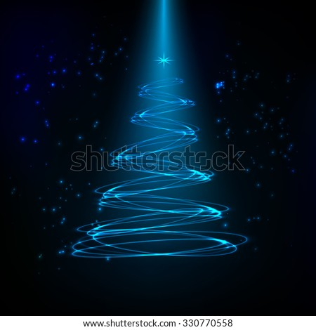 The Magic Christmas Tree vector illustration - stock vector