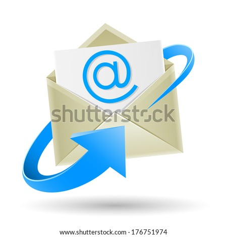 The mail, open envelope with a sheet of paper inside and e-mail symbol wrapped blue arrow isolated on the white background