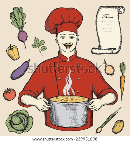 The main chef is holding a pot of vegetable soup. Free-hand drawing, vector illustration.