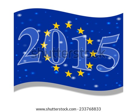 The main flag of the New Year 2015 New Year flag of the country. Festive flag. Christmas. Vector. Icon. Flag of the European Union, EU Happy Holidays