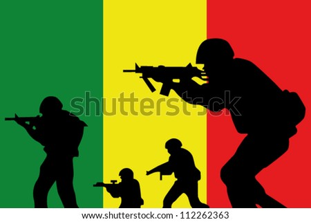 The Mali flag and the silhouette of a soldiers