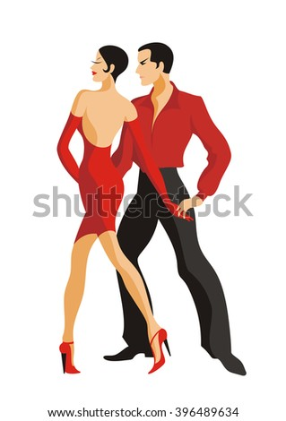 the man and the woman dance a tango - stock vector