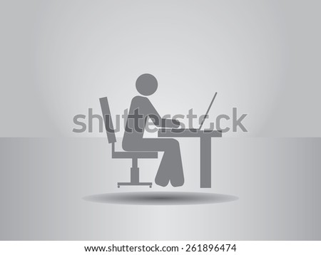 The man behind the computer desk icon, vector illustration. Flat design style. - stock vector