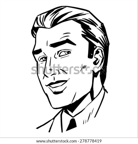 The man face smiling sketch graphics the image of a successful businessman