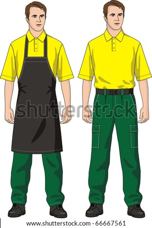 The man in an apron and trousers with pockets - stock vector