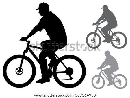 The man in the cap riding a bike. Silhouette on a white background