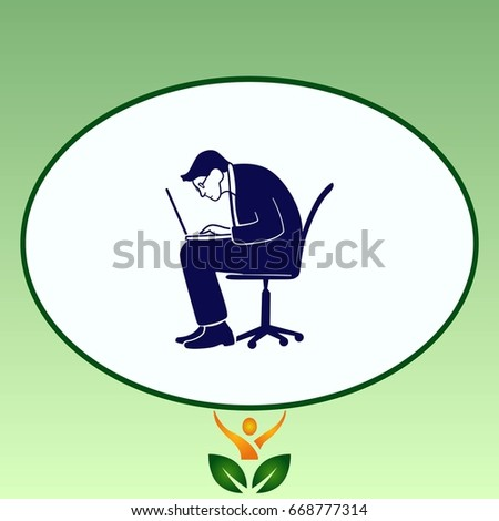 The man is concentrated on the computer. The programmer looks at the laptop. Vector illustration.