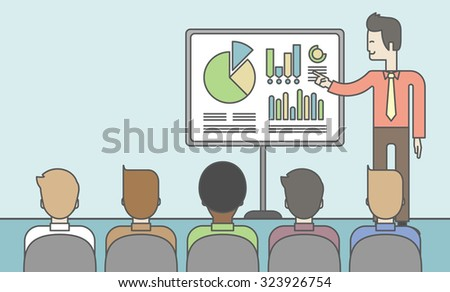 The man presenting his report through infographics in office. Reporting concept. Vector line design illustration. Horizontal layout with a text space. - stock vector