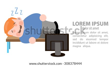 the man sleeps in the workplase - stock vector