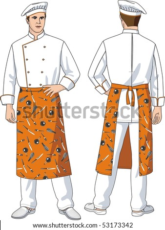 The man the cook in an apron with pockets - stock vector