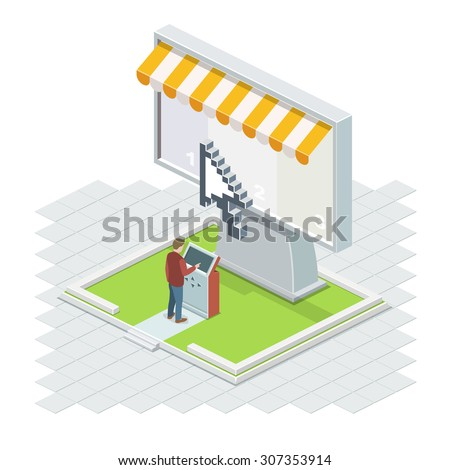 The man using it technologies. The Big Isometric vector screen with a cursor and a terminal. - stock vector