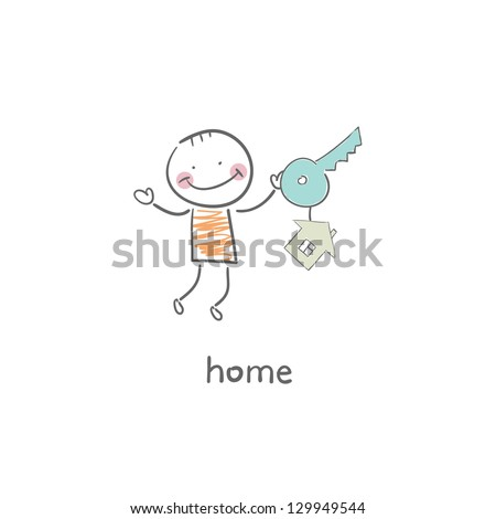 The man was the key to his house. Illustration. - stock vector