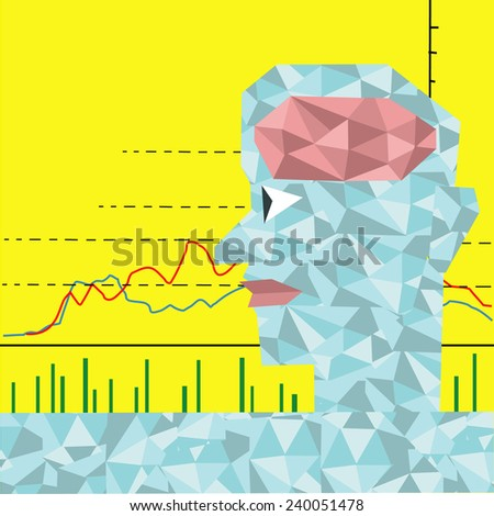 The man who has diamonds brain with stock graph. - stock vector