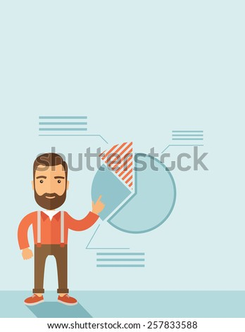 The man with a beard presenting his report through infographics. Reporting concept. Vector flat design illustration. Vertical layout with a text space in a top. - stock vector