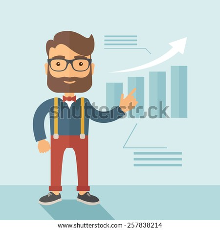 The man with a beard presenting his report through infographics. Reporting concept. Vector flat design illustration. - stock vector