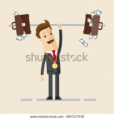 The manager or businessman raises a bar-bell with  briefcases full of money. Illustration, vector EPS 10 - stock vector
