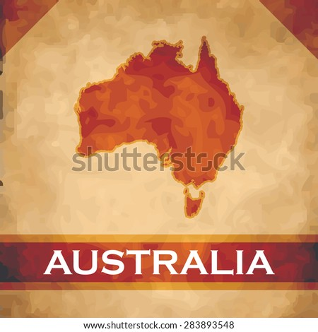 The map of Australia on parchment with dark red ribbons - stock vector