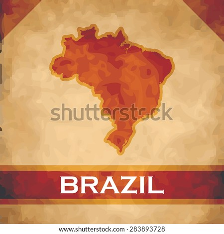 The map of Brazil on parchment with dark red ribbons - stock vector