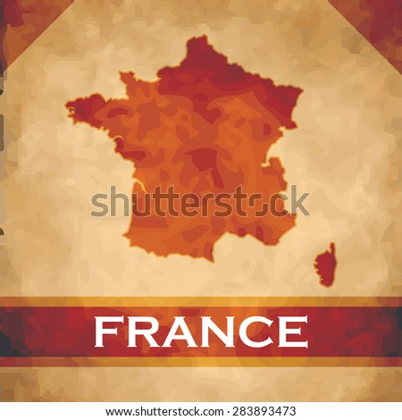 The map of France on parchment with dark red ribbons