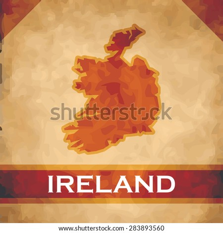 The map of Ireland  on parchment with dark red ribbons - stock vector