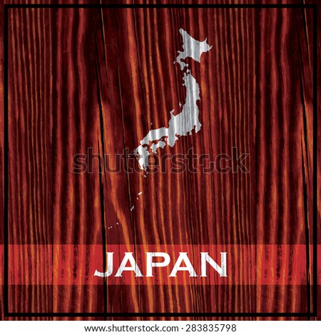 The map of Japan painted on wooden board - stock vector