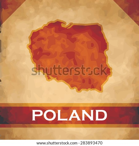 The map of Poland on parchment with dark red ribbons - stock vector