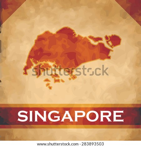 The map of Singapore on parchment with dark red ribbons