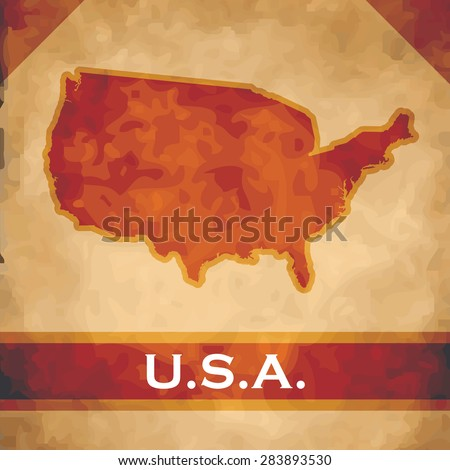 The map of the United States of America on parchment with dark red ribbons - stock vector