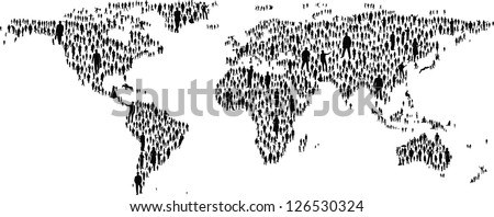 The map of the world made of plenty people silhouettes