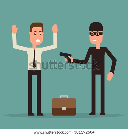 The masked thug robs a man - stock vector