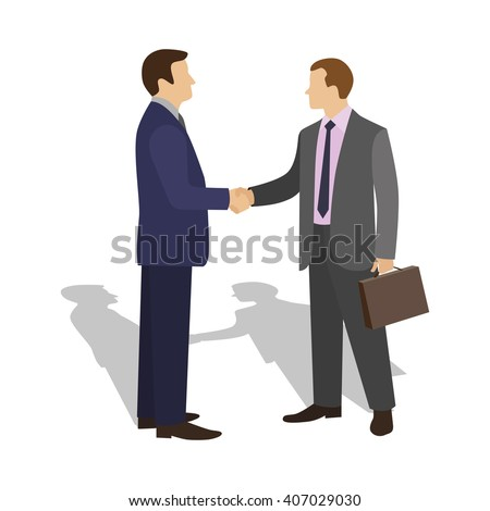The meeting of two businessmen and business handshake.  - stock vector