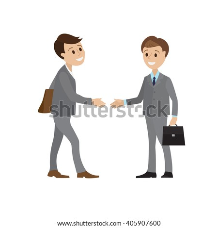 The meeting of two businessmen and business handshake. A young man in a business suit holds out his hand in greeting to the partner. Handshake of two men. Stock vector illustration of handshake - stock vector