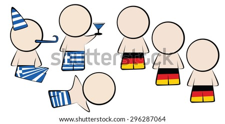 The mentality of the Greeks vs the mentality of the Germans. Greeks party goers vs German order. - stock vector