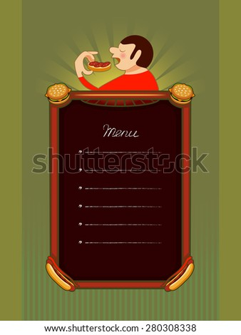 The menu for the bistro, with a man-eating fastfood - stock vector