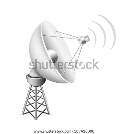 The mesh satellite antenna with construction and signal waves on the white background - stock vector