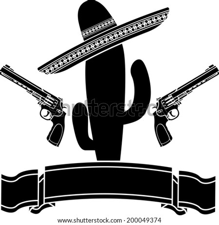 the mexican cactus and two pistols. vector illustration - stock vector