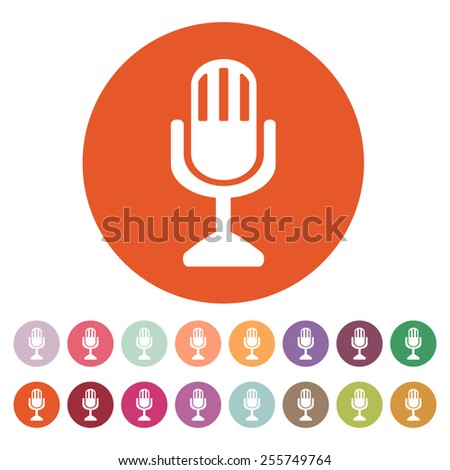 The mic icon. Microphone symbol. Flat Vector illustration. Button Set - stock vector