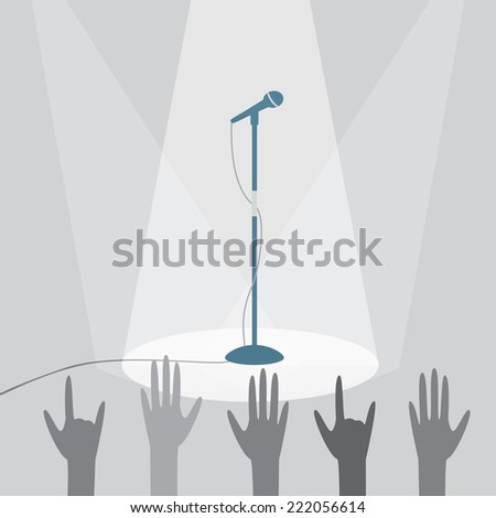 The microphone on the stage under the spotlights. EPS10 vector illustration. - stock vector
