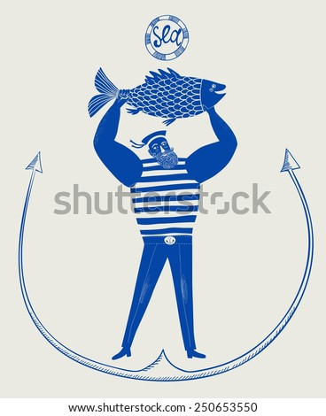 The mighty cartoon sailor with big fish. Tattoo style with anchor. - stock vector