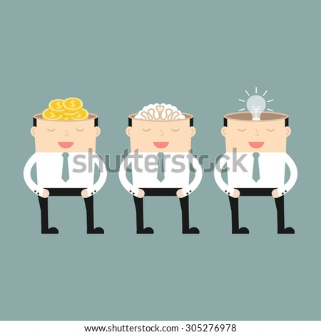 The mind of a businessman. Three different mind. Vector illustration. - stock vector