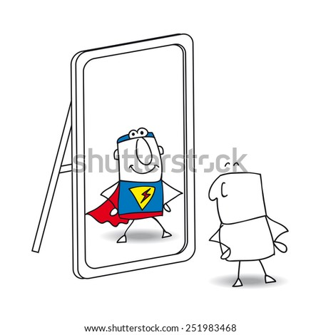 The mirror. Joe looks in the mirror. He sees a superhero in the reflection. It's a metaphor of the power which is in each person - stock vector