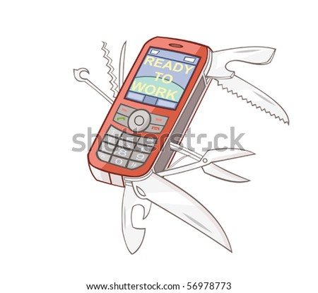 The mobile phone is combined with the swiss knife - stock vector