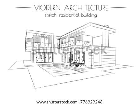 modern architecture sketch. Unique Sketch The Modern Architecture Sketch Of Houses On A White Background Throughout Modern Architecture Sketch