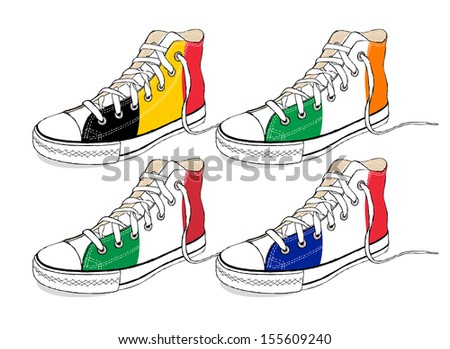 The modern hand draw sneakers with Europe Union flags - stock vector