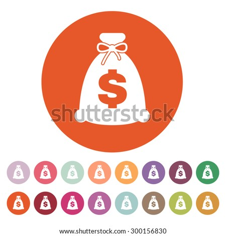 The money bag icon. Cash and money, wealth, payment symbol. Flat Vector illustration. Button Set - stock vector