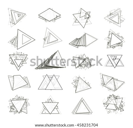 The monochrome gray set isolated elements for design of posters, maps, brochures and headers architectonic sites. Isolated objects on white background can be edited. Vector illustration - stock vector