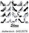The monochrome set of women's shoes - stock vector